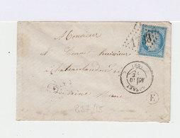 Sur Enveloppe 25 C. Cérès Bleu. Oblitération Losange Gros Chiffres. Cachet à Date Gueret. (610) - Marcophilie (Lettres)