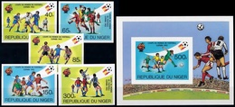 Soccer Football Niger #767/71B + Bl 34B Imperf 1982 World Cup In Spain MNH ** - Wereldkampioenschap