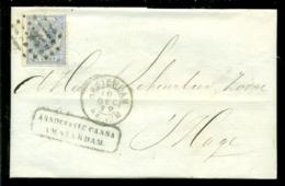 Nederland 1872 Brief Verzonden Uit Amsterdam Met Zegel NVPH 19 Met Ontvangststempels En Kastje A29 - Briefe U. Dokumente