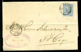 Nederland 1893 Brief Verzonden Uit Amsterdam Met Zegel NVPH 35 Met Ontvangststempels En Kastje B6 - Cartas