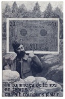 20 Francs Sur CPA Poilu  WW1 Voyagé 1918 - 1871-1952 Anciens Francs Circulés Au XXème