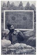 20 Francs Sur CPA Poilu  WW1 Voyagé 1918 - 1871-1952 Gedurende De XXste In Omloop