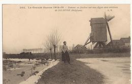 9384. BELGIQUE WW1 ZOUAVE EN FACTION SUR UNE DIGUE...DIXMUDE. MOULIN - Diksmuide