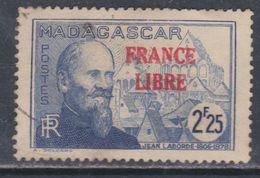 """Madagascar N° 251 O  2 F.25 Outremer Surchargé  """"France Libre""""  Oblitération Très Légère Sinon TB - Madagascar (1889-1960)"""
