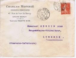 Enveloppe En-tête - PARIS-GRAND-BERCY - Charles MONDIE - Wagons-Réservoirs - Rue Du Port De Bercy - Documentos Históricos
