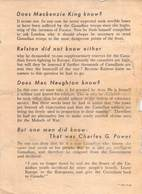 WWII WW2 German Propaganda Leaflet Tract Flugblatt, Code * 365-12-44, Does Mackenzie King Know?,  FREE SHIPPING - Old Paper
