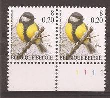 OBP2966CU - Koolmees In Paar Met Plaatnummer 1 En Gele Vlek Boven K Van KOOLMEES (zie Scans) - Abarten Und Kuriositäten