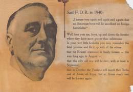 WWII WW2 German Propaganda Leaflet Tract Flugblatt, Code 981144/4, Said F.D.R. In 1940:...,  FREE SHIPPING - Vieux Papiers