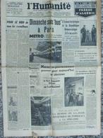 Journal L'Humanité (19 Sept 1955) Bus Parisiens - Frères D'Algérie - Dominici - Aff Marschall - Picasso - 1950 - Nu