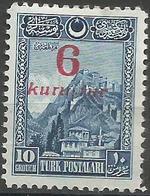 Turkey - 1929  Ankara Fortress Surcharge MH *     Mi 884 - Unused Stamps
