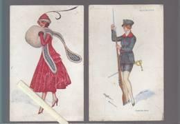 Illustrateur - Xavier Sager - Lot De 4 - Voir état - Dont Roumanie Femmes Soldat, Et 3 Cp Série  Frileuse, - Sager, Xavier