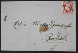 France Lettre 1853-60 Emission Empire Non Dentelé Napoleon III 80c Rose 17B Percé En Ligne 03-04-1863-Expertisé Scheller - 1849-1876: Période Classique