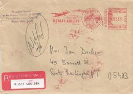 "USA 1998 Boston Berlin Lift Meter Franking Francotyp-Postalia ""T-1000"" Registered Consulate Cover - Poststempel"