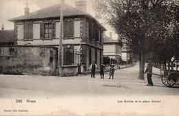9440. CPA ISERE 38 RIVES. LES ECOLES ET LA PLACE CARNOT 1908 - Francia