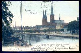 Cpa Allemagne Gruss Aus Lübeck Partie An Der Trape Mit Marien , Petrikirche Luebeck   Aout18-3 - Luebeck