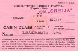 YUGOSLAV LINE , M/S SRBIJA CABIN CLASS 1959 - Europa