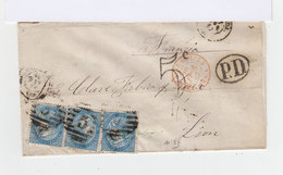 Sur Lettre Trois Timbres Quatro Cuartos Bleu. Oblitération 5.1867. Cachet PD. (612) - Marcophilie - EMA (Empreintes Machines)