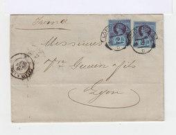 Sur Lettre Deux Timbre Reine Victoria 2,5 D. Oblitération London. 1887. (613) - Marcophilie