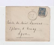 Sur Enveloppe Type Sage 15 C. Bleu. Oblitération La Frette, Isère. (615) - Marcophilie (Lettres)