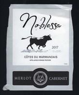 """Etiquette Vin  Noblessa Côtes Du Marmandais 2017 """"taureau"""" Merlot Cabernet - Vin De Pays D'Oc"""
