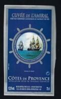 """Etiquette Vin  Cuvée De L'Amiral Côtes De Provence 2002 """"bateaux Commandé Par Le Contre Amiral Brune D'Entrecasteaux"""" - Rosés"""