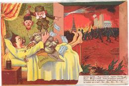 """Cpa GUERRE 14/18 - Dessin, Caricature De GUILLAUME II Dans Son Lit """" Rèves Roses """" - War 1914-18"""
