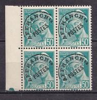 N° 82  Préobilérés Type Mercure : 4F Bleu-Vert Bloc De 4timbres Impeccable - 1953-1960