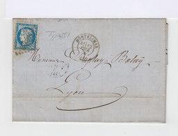 Sur Lettre Céres 25 C. Bleu Type II. 1874. Montélimar Vers Lyon. (618) - Marcophilie (Lettres)