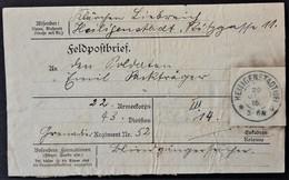ETIQUETTE FELDPOST ENVOI DE COLIS De HEILIGENSTADT Vers Grenadier Regiment Nr52 Franchise Militaire 1916 - Marcophilie (Lettres)