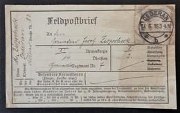 ETIQUETTE FELDPOST ENVOI DE COLIS De ÖDERAN Vers Grenadier Regiment Nr 7 Franchise Militaire 1916 - Marcophilie (Lettres)