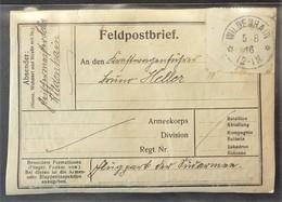 ETIQUETTE FELDPOST ENVOI DE COLIS De WILDENHAIN Franchise Militaire 1916 - Postmark Collection (Covers)