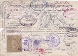Certificat Identité Ausweis Marin Belge Nombreux Cachets UK Immigration Laissez Passer 1917/1920 - Documents Historiques