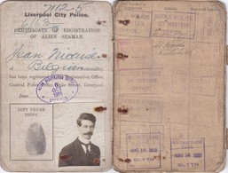 Carnet Identité Ausweis Marin Belge Nombreux Cachets Griffe UK Immigration Laissez Passer 1915/1919 - Documents Historiques