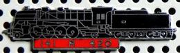 1 Pin's Double Attache Locomotive à Vapeur 141 R 420 émail Noir Métal Chromé Cartouche Rouge - TGV