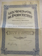 Mines D'or De Porcecito - Action De Capital Série B De 500 Francs - Mijnen