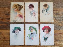 Lot 6 Cartes Postales Illustrées Femme/mode - Simonetti/Usaba - Vintage Postcard - Moda