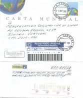Brasil Brazil 2005 Sao Paulo Globe Registered Aerogramme - Postwaardestukken