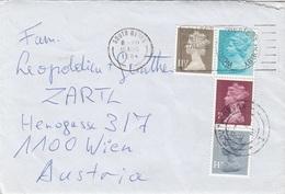 ENGLAND 1980? - 4 Fach MIF Auf Brief Mit Inhalt, Gel.v. South Devon > Wien - 1952-.... (Elisabeth II.)