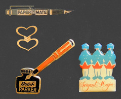 Lot 4 Pin's Stylo PAPER MATE, Stylo Et Encrier PARKER, Plume Sergent Major - Marques