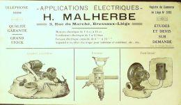 BUVARD ANCIEN-APPLICATIONS ELECTRIQUES-H.MALHERBE-LIEGE-3-1930 - Electricité & Gaz