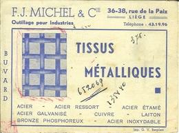 "Buvard De Liège "" Tissus Métalliques  - F.J.michel "" - Carte Assorbenti"