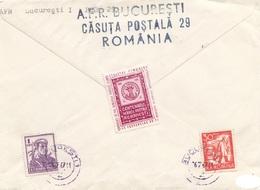 ROMANIA 1967 - 5 Fach MIF + Vignette Auf R-Brief Gel.v. Bucarest > Wien - Abarten Und Kuriositäten
