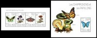 TOGO 2013 - Butterflies & Mushrooms - YT 3437-40 + BF721; CV=32 € - Vlinders
