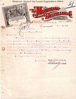 USA CINCINNATI FACTURE ILLUSTREE DU 20/06/1910 THE MOUNTAIN DISTILLING & CO DISTILLERS POUR J SORIN A SAUJON - United States