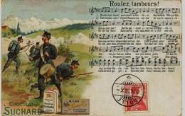 282 - Suisse -  PUBLICITE CHOCOLAT SUCHARD - 1910  CACHET  POSTE DE ROLLE  1910 - ROULEZ TAMBOURS - Publicité