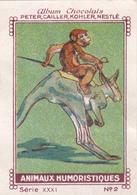 CHROMO 4 X 6 Animal Humanisé Position Humaine Sport Hippisme Kangourou Singe Jokey Monkey Kangaroo - Nestlé