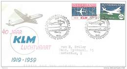 "Nederlande Pays-Bas 1959:  ""40 Jaar KLM Luchtvaart""  Michel 737-738 Op FDC UITGIFTE-o S'GRAVENHAGE 5 OKT 1959 - FDC"