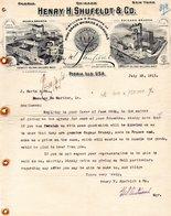 USA PEORIA HILLS FACTURE ILLUSTREE DU 10/07/1911 DISTILLERIE HENRY H SHUFELD & CO PEORIA  CHICAGO NEW YORK POUR J SORIN - United States
