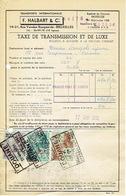 """Dokument TAXE DE TRANSMISSION Met Drie Fiscale Zegels Met Firmaperforatie (perfin) """"FHcie"""" Van F. HALBART & Cie - 1934-51"""