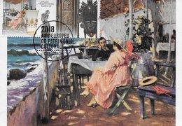 CARTE MAXIMUM - MAXIMUMKARTEN- MAXIMUM CARD - PORTUGAL - BORD DE MER - JOSÉ MALHOA -MUSÉE NATIONAL DE L'ART CONTEMPORAIN - Arts